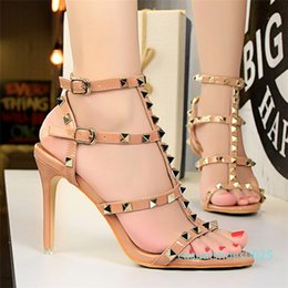 slingback shoes heels Canada - 2020 womens slingbacks designer gladiator sandals rivet shoes black red nude white italian brand sexy extreme high heels pumps 01 c25