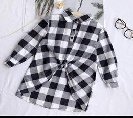 Girls Black White Shirts Australia - Kids Shirt Spring Girl Long Shirt Gril Long Sleeve Plaid Top Black white Plaid Clothing 5 p