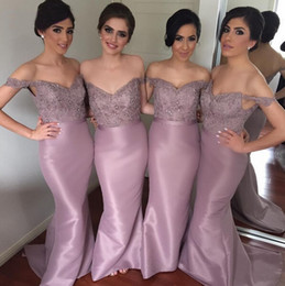prices purple wedding dresses UK - Fashion Dusty Purple Mermaid Bridesmaid Dresses Off the shoulder Applique Sequins Bead Wedding Guest Prom Formal party Dress Wholesale Price