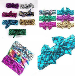 headbands bow UK - Girls Mermaid Bow Headbands Children Fish scale Rabbit ears Hairbands Kids Hair Accessories baby Princess Headdress 22 Colors