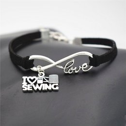$enCountryForm.capitalKeyWord Australia - Women Men Braided Black Leather Suede Bracelets Infinity Love I Heart Sewing Machine Pendant Bangles Fashion Punk Female Male Jewelry Gifts