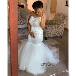 plus size wedding dresses taffeta Australia - African Mermaid Wedding Dresses With Sheer Neck Appliques Lace Satin And Tulle Bridal Gowns Sweep Train Plus Size Wedding Dress Cheap