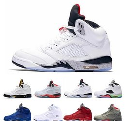 84f7acd51fe New Classic 5 5s V OG Black Metallic Gold White Cement Mens Basketball Shoes  blue Suede Olympic metallic Fire Red Sports Sneakers Shoes