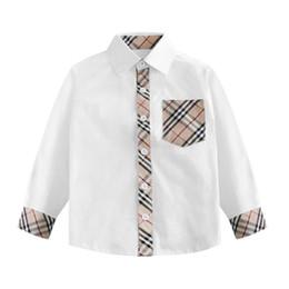 Moda Ekose Baskılı Çocuk Gömlek Pamuk Nefes Yumuşak Erkek Gömlek Yüksek Kalite İngiltere Stil Beyaz Tops