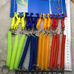 $enCountryForm.capitalKeyWord Australia - Plastic Spring Elastic Rope Keychain Security Airsoft Outdoor Anti-lost Phone Spring Stretchy Coil Keyring Keychain Strap LJJJ85