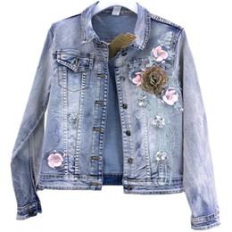 $enCountryForm.capitalKeyWord Australia - denim jacket women 2019 fahsion heavy three-dimensional flower beaded slim stretch jeans coat plus size 2XL