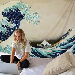 handmade tapestry wall hangings Canada - 200*148cm Printed Wall Hanging Tapestry Japan Kanagawa Waves Tapestries Boho Bedspread Bohemian Style Hanging Yoga Mat Blanket T200622