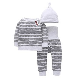 Wholesale 3pcs Set Warm Long Sleeve Baby Sleepwear Cotton Stripe T shirt Pants Hat Sleepwear Christmas Clothes Baby Clothes