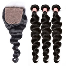 Wholesale 3 Human Hair Bundles With Silk Base Closure Loose Wave Brazilian Human Hair Weave Bundles With Closures Dolago Remy