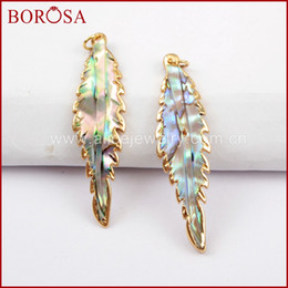 $enCountryForm.capitalKeyWord Australia - BOROSA 10pcs Gold Color Leaf Shape Natural Abalone Shell Charm Trendy Shell Pendant with Gold Trim for Necklace Earrings G1600