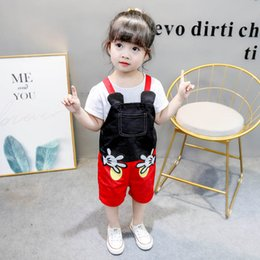 Cartoon Suspender Girls Australia - Summer 2019 new Cartoon Girls Jumpsuit cute boys Suspenders Kids Suspender Thouser Kids Casual Pants kids designer clothes boys A4142