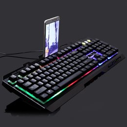 Wholesale G700 USB Wired Mechanical feeling Keyboard led Colorful Backlight Gaming Keyboard For PC Computer Gamer with phone stand