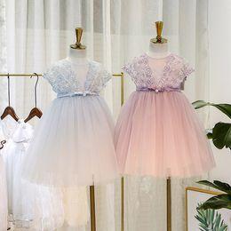 High Quality Tutus Australia - sweet Girls summer Vest dresses kids lace gauze embroidery princess dress high quality children pearls Bows belt tulle tutu dress