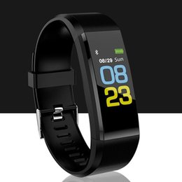 step smart fitness watch Australia - 115Plus smart bracelet fitness bracelet information push anti-lost tracker step counter blood pressure heart rate monitoring watch
