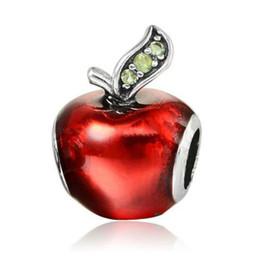$enCountryForm.capitalKeyWord UK - 1PC Silver Plated Red Enamel Snow White Apple Large Hole Beads Fit European Pandora Cartoon cake Charm Bracelets & Necklaces