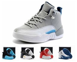 Wide Athletic Shoes Australia - Kids 12s Athletic Sneakers Children Basketball Shoes Boys Girls 12 OVO French Blue The Master Taxi Playoff Sports Shoes Toddlers KIDS-7814