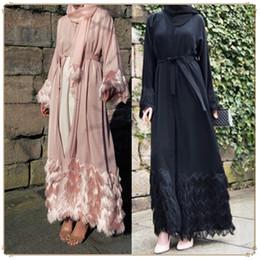 MusliM woMen clothing dubai online shopping - 2019 fashion elegant Dubai cardigan Muslim hairy lace female robes abaya Arab Turkey Women Clothes Islamic Clothing