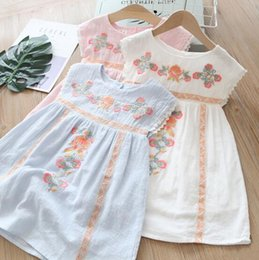 EmbroidEry dEsigns flowEr girl online shopping - multi Colors New girl kids Clothes Elegant dress Round collar Sleeveless Flower Embroidery Ethic Design girl kids dress charming girl dress