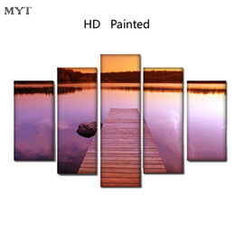 $enCountryForm.capitalKeyWord Australia - Beautiful Twilight lakeside scenery High Quality HD Printed 5 Pieces big size Canvas Wall Art pictures for living room Home Decor no framed