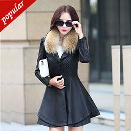 $enCountryForm.capitalKeyWord NZ - Women's Slim Fur Collar Pu Leather Jackets New Spring Autumn Women Medium Long Belt Leather Trench Coats M-4xl