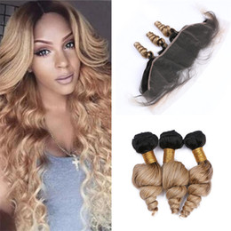 Two Tone Wavy Hair Australia - Two Tone 1B 27 Honey Blonde Ombre Human Hair Bundles with Frontal Closure Loose Wave Wavy Ombre Blonde Hair Weave and Lace Frontal
