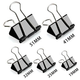 stationery binders UK - 200pcs Black Metal Paper Document Clips Color Paper Clips Foldback Metal Binder Clips Grip Clamps Office School Stationery Supplies