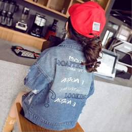 fashion kids jacket korean Canada - 2019 Autumn Korean Style Girls Ins Fashion Denim Jacket Childrens Casual Cothing Kids Letter Printed Lapel Collar Jacket