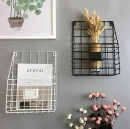 Simple Wrought Iron Tabletop Metal Newspaper And Debris Decoration Storage Basket Hangable Portable Rack Bathroom Shelves