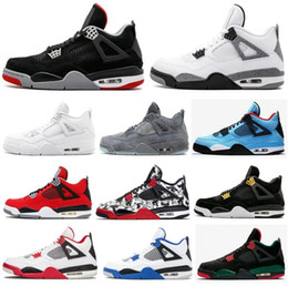 a15f30f14268 High Quality 4 New Bred White Cement Pure Money Basketball Shoes Men Women  4s KAWS Tattoo Royalty Toro Bravo Sports Sneakers With Box
