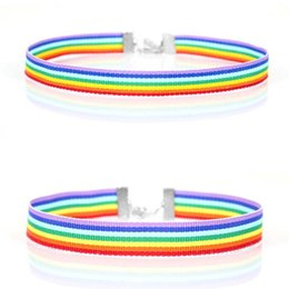 lace collar accessories NZ - Fashion Rainbow Choker Necklace Gay Lesbian Pride Lace Choker Colorful Ribbon Collar Punk Jewelry Accessories Gifts