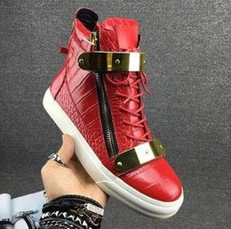 Metal Sneakers Australia - 2019 NEW men casual shoes mens trainers new women Zanotti sneakers with Metal decoration Patent leather Double zipper high top shoes 36-47