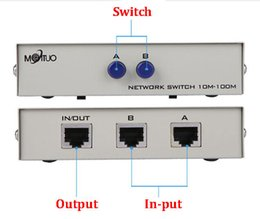 Wholesale 2 Port Network Switch manual sharing RJ45 RJ-45 Ethernet Network Box Switcher Applications 100MHz 2 in 1 out