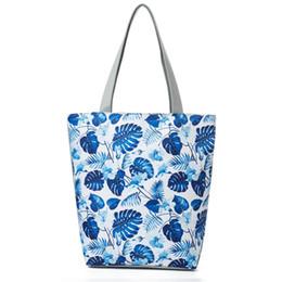 Blue Color Ladies Shoulder Handbag Australia - good quality Elegant Blue Floral And Monstera Printed Lady Shoulder Bag Canvas Tote Handbag Women Large Capacity Shopping Bag