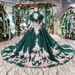 Handmade Tassel Straps Australia - 2019 Latest Muslim Evening Dresses Long Tulle Sleeve Lace Up Back High Neck Beaded Chest Multicolor Handmade Applique Pattern Prom Gowns