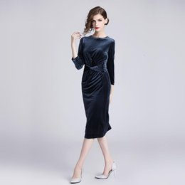 velvet clothing line Australia - Velvet Shirring Slim Tunic Bodycon Sheath Dress Women Elegant Sexy Sweet Office Party Fashion Dress 2019 Spring Clothing Bandage