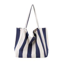 Ladies Handbag Organizer Insert Australia - Womens Ladies Canvas Handbag Shoulder Bag Tote Purse Travel Large Messenger Hobo Ladies Striped Bag Organizer Insert