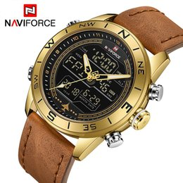 Stainless Watch Army Australia - Naviforce 9144 Fashion Gold Men Sport Watches Mens Led Analog Digital Watch Army Military Leather Quartz Watch Relogio Masculino Y19051302