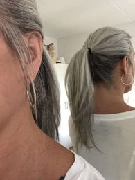 China Silver grey human hair pony tail hairpiece wrap around Dye free natural hightlight salt and pepper gray hair ponytail supplier peruvian straight color ponytail suppliers