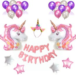 Wholesale Unicorn Party Decor Birthday Latex Balloons Unicorn Theme Full Moon Birthday Decoration Girls Children s Party Happy Birthday Gifts