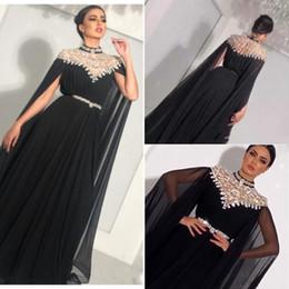 $enCountryForm.capitalKeyWord NZ - Zuhair Murad High Neck Evening Dresses Black Crystal Beaded Chiffon Saudi Arabic Dubai Luxury Prom Formal Gowns With Sleeve for Women party