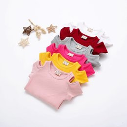 $enCountryForm.capitalKeyWord NZ - 1-3T New design baby girl tops candy color off-shoulder short sleeve cotton t-shirt new boutique girl tops