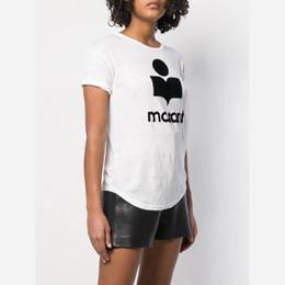 321b5f239c 18SS Isabel Marant bordado Tee Applique Logo verano camiseta de la manera  causal 4 colores chica de moda TEE HFTTTX073