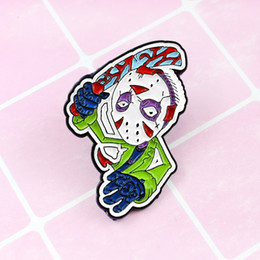 Black friday mask online shopping - Jason Voorhees Brooch Black Friday Horror Movie Character Enamel Pin Mask Killer pins Jewelry Gifts