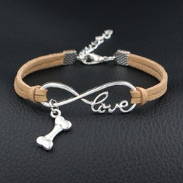 Dog Plates Australia - 2018 Antique Silver Plated Infinity Love Dog Bone Pan Charm Bracelet Beige Leather Rope Bracelet Bangle for Women Men Jewelry Gift Wholesale