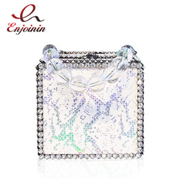 bags chain handles 2019 - New Style Box Style Snakeskin Transparent Beaded Handle Diamond Ladies Party Handbag Dinner Chain Purse Totes Women Shou
