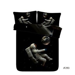 Space Bedding Australia - Galaxy Outer Space Astronaut 3 Piece Blue Galaxy Kids Boys Bedding Set With 2 Pillow Shams Star Universe Duvet Cover Planet Bedspread Home