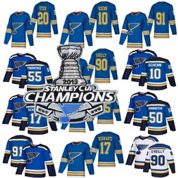 Maillot des Champions de la Coupe Stanley 2019 St. Louis Blues 50 Binnington Schwartz 90 Ryan O'Reilly Colton Parayko Schenn 91 Chandails de hockey Vladimir on Sale