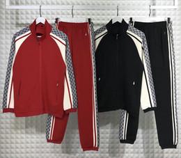 Venta al por mayor de 2019 diseñador de primavera chándal para hombre ropa de marca de lujo remiendo a rayas chándal carta cremallera algodón traje chaqueta sudadera abrigo