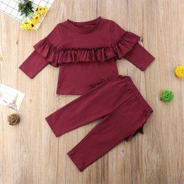 tracksuit zebra UK - 0-24M Toddler Kid Baby Girls Autumn Winter Clothes Sets Wine Red Long Sleeve Tops + Ruffles Decor Long Pants Outfit Tracksuit
