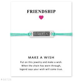 $enCountryForm.capitalKeyWord Australia - Best Friend charm Bracelets With Make a Wish Gift card For Women Men String Rope chain Bangle BFF friendship Fashion Jewelry in Bulk